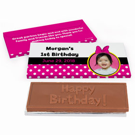 Deluxe Personalized Minnie Mouse Photo Youth Birthday Chocolate Bar in Gift Box