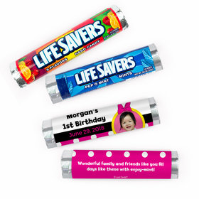 Personalized First Birthday Minnie Mouse Photo Lifesavers Rolls (20 Rolls)