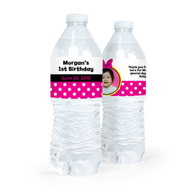 Personalized First Birthday Photo Minnie Mouse Theme Water Bottle Sticker Labels (5 Labels)
