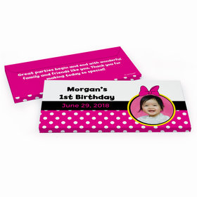 Deluxe Personalized Minnie Mouse Photo Youth Birthday Hershey's Chocolate Bar in Gift Box