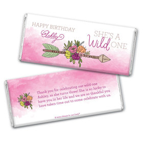 Personalized Birthday She's a Wild One Chocolate Bar Wrappers