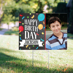 Happy Birthday Yard Sign Personalized Birthday Chalk with Photo