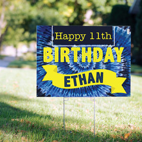 Birthday Yard Sign Personalized - Tie-Dye Blue