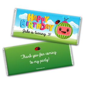 Personalized Birthday Party Melon Chocolate Bar & Wrapper
