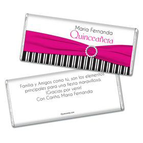 Quinceañera Personalized Chocolate Bar Rayas y el Arco