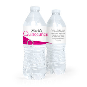 Personalized Quinceaera Rayas y el Arco Water Bottle Sticker Labels (5 Labels)