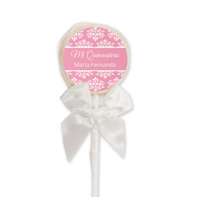 Quinceañera Personalized White Lollipop Patrón de Flores (24 Pack)