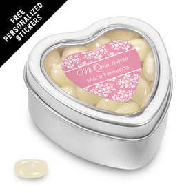 Quinceaera Personalized Small Heart Tin Patrn de Flores (25 Pack)