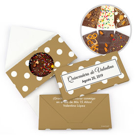 Personalized Lunares Quinceanera Gourmet Infused Belgian Chocolate Bars (3.5oz)