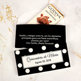 Deluxe Personalized Quinceaera Lunares Godiva Chocolate Bar in Gift Box