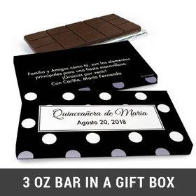 Deluxe Personalized Quinceañera Lunares Chocolate Bar in Gift Box (3oz Bar)