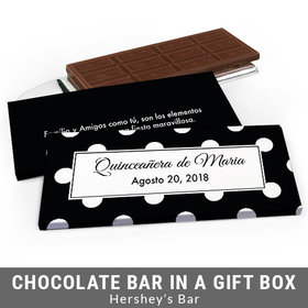 Deluxe Personalized Lunares Quinceanera Chocolate Bar in Gift Box
