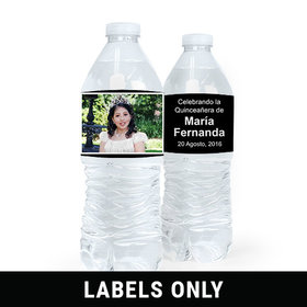 Personalized Quinceañera Photo Water Bottle Sticker Labels (5 Labels)