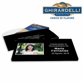 Deluxe Personalized Instantnea Quinceanera Ghirardelli Chocolate Bar in Gift Box