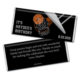 Birthday Personalized Chocolate Bar Basketball Hoop Slam Dunk