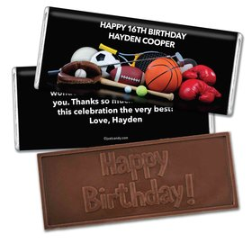 Birthday Personalized Embossed Chocolate Bar Sports