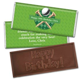 Birthday Personalized Embossed Chocolate Bar Argyle Golf Ball