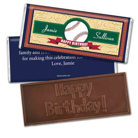 Birthday Personalized Embossed Chocolate Bar Baseball Age