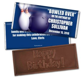 Birthday Personalized Embossed Chocolate Bar Bowling