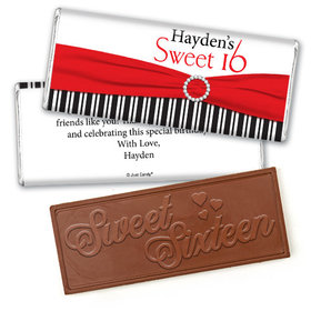 Birthday Personalized Embossed Chocolate Bar Glamour Stripes Sweet 16