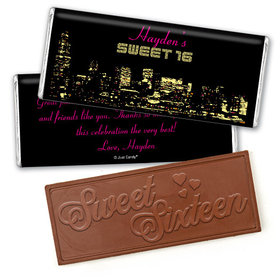 Birthday Personalized Embossed Chocolate Bar City Night in Lights Skyline