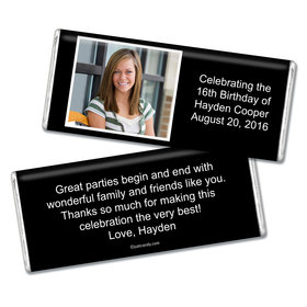Birthday Personalized Chocolate Bar Photo & Message