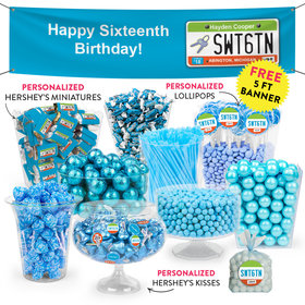 Personalized Sweet 16 Birthday License Plate Deluxe Candy Buffet