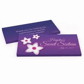 Deluxe Personalized Cherry Blossom Sweet 16 Birthday Hershey's Chocolate Bar in Gift Box