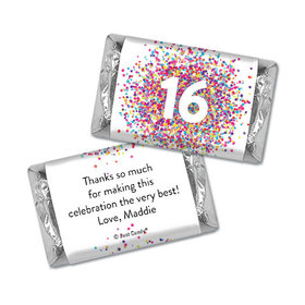 Personalized Birthday Sweet 16 Confetti Burst Hershey's Miniatures Wrappers