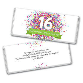 Personalized Sweet 16 Birthday Confetti Burst Chocolate Bar