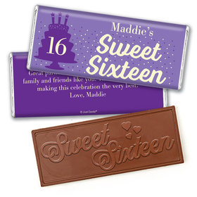 Personalized Sweet 16 Birthday Let's Celebrate Embossed Chocolate Bar