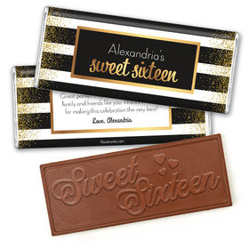 Personalized Sweet 16 Birthday Uptown Glitz Embossed Chocolate Bar & Wrapper
