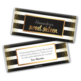 Personalized Sweet 16 Birthday Uptown Glitz Chocolate Bar & Wrapper