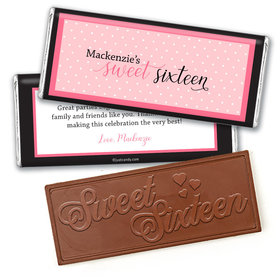 Personalized Sweet 16 Birthday Pretty in Polka Dots Embossed Chocolate Bar & Wrapper