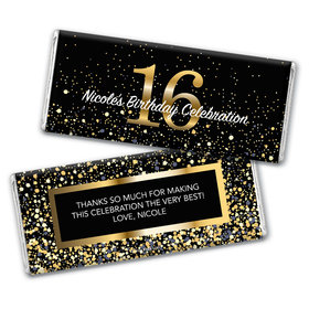 Personalized Milestone Elegant Birthday Bash 16 Chocolate Bar Wrappers