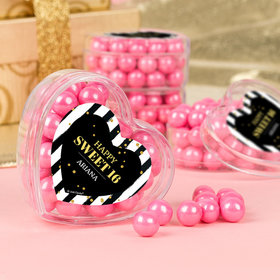Personalized Sweet 16 Stylish Soiree Favors Assembled Acrylic Heart Container with Sixlets
