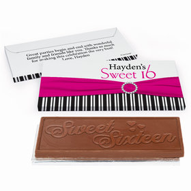 Deluxe Personalized Glamour Stripes Sweet 16 Birthday Chocolate Bar in Gift Box