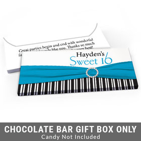 Deluxe Personalized Glamour Stripes Sweet 16 Birthday Candy Bar Favor Box