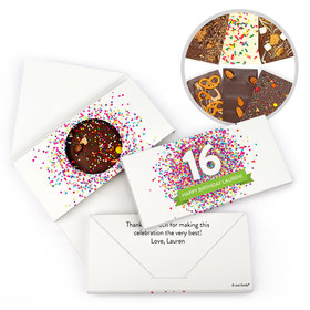 Personalized Birthday Sweet 16 Sweet 16 Confetti Burst Birthday Gourmet Infused Belgian Chocolate Bars (3.5oz)