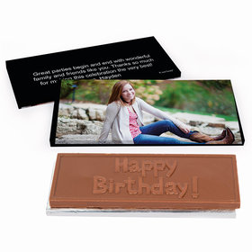 Deluxe Personalized Full Photo Sweet 16 Birthday Chocolate Bar in Gift Box