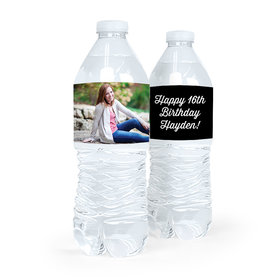 Personalized Sweet 16 Birthday Full Photo Water Bottle Sticker Labels (5 Labels)