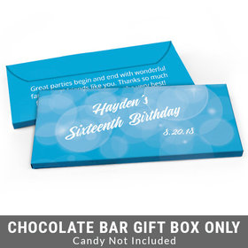 Deluxe Personalized Bubbles & Dots Sweet 16 Birthday Candy Bar Favor Box