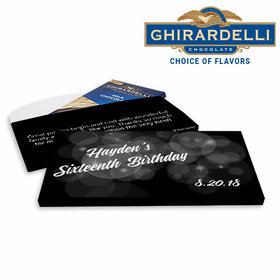 Deluxe Personalized Bubble & Dots Sweet 16 Ghirardelli Chocolate Bar in Gift Box