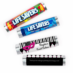 Personalized Sweet 16 Harlequin Masquerade Lifesavers Rolls (20 Rolls)