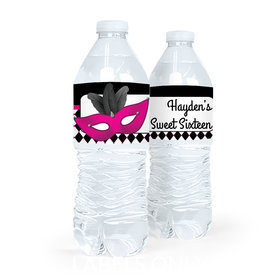 Personalized Sweet 16 Birthday Masquerade Water Bottle Sticker Labels (5 Labels)