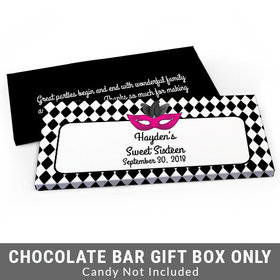 Deluxe Personalized Harlequin Masquerade Sweet 16 Birthday Candy Bar Favor Box