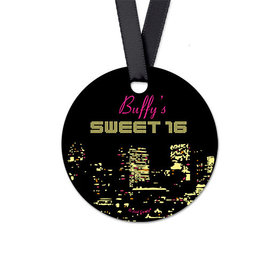 Personalized City Lights Birthday Round Favor Gift Tags (20 Pack)
