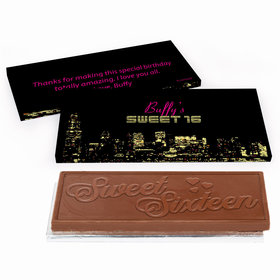 Deluxe Personalized City Lights Sweet 16 Birthday Chocolate Bar in Gift Box