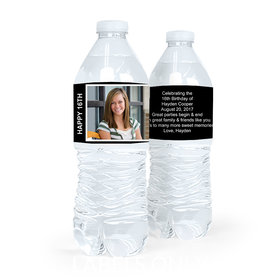 Personalized Sweet 16 Birthday Photo Snapshot Water Bottle Sticker Labels (5 Labels)