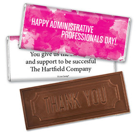 Administrative Professionals Day Embossed Thank You Chocolate Bar Watercolor Blots